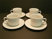 Totally Today Dots & Triangles TT012 Flat Cups & Saucers White--Lot of 4!!
