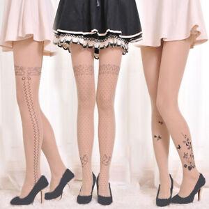 Womens Tattoo Printed Pantyhose Tights Fancy Hosiery Socks Thin Tights