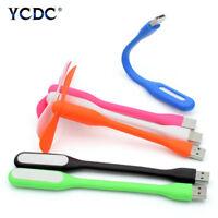 Portable Mini USB Fan+LED Lamp Flexible Summer Gadget For Tablet Power Bank EDA