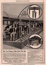 1917 A  AD PHOTO  HUNT HELM FERRIS STAR CURB CLAMP DAIRY FARM COWS BARN EQUIP