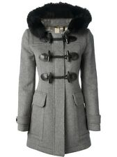 $1,700++ BURBERRY BRIT Classic Gray Wool Fox Fur Hood Toggle Trench Coat Size 10