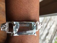 Huge Estate VVS 40.1ct aquamarine 3+ct Diamond Platinum bracelet bangle 6.5-7in