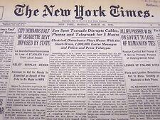1940 MAR 25 NEW YORK TIMES NEWSPAPER - SUN-SPOT TORNADO DISRUPTS CABLES - NT 45