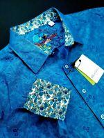 Robert Graham Paisley Floral Colorful Print Long Sleeve Sport Shirt XL