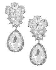 Brautschmuck Lange Ohrclips Clips Clip Blume Tropfen Kristall Klar Silber 5 cm L
