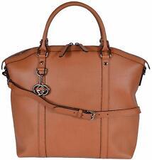 NEW Gucci Women's 339551 TAN Leather GG Charm Convertible Large Dome Handbag