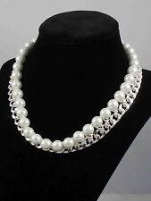Ralph Lauren Silvertone Curb Chain 10mm Faux Pearl Statement Necklace $128