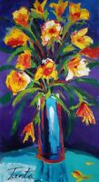 Lena Tants Original Acrylic Painting on Canvas Beautiful Floral Signed W/COA.