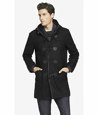 NEW EXPRESS TECH $278 BLACK WATER RESISTANT WOOL DUFFLE COAT SZ XL EXTRA LARGE