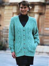 "Ladies CABLE PANEL JACKET Knitting Pattern Photocopy WOMENS LONG CARDIGAN 32-42"""