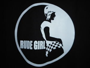 RUDE GIRL LADIES BLACK TSHIRT MOD SKIN RETRO SCOOTER