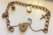 Beautiful Ladies Early Vintage Solid 9ct Gold Charm Bracelet - Charms & Padlock