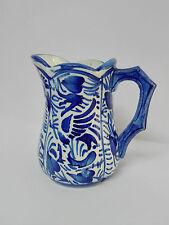 MANISES Antigua Jarra Lechera de porcelana esmaltada, pintada y decorada a mano.