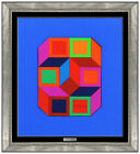 Victor Vasarely Original Xiko Collage Hand Signed Modern Framed Abstract Artwork