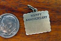 Vintage sterling silver BEAUCRAFT HAPPY ANNIVERSARY ENGRAVABLE CARD charm BEAU