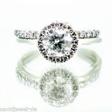 1.34Ct Engagement Ring Halo Round Cut Diamond GIA cert with band 14k