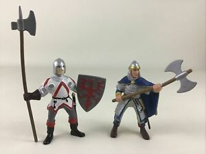 Papo Medieval Knights 2pc Lot Collectible PVC Figures Weapons Vintage 2000