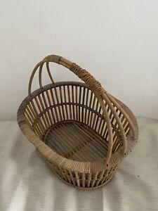 Vintage Woven French 1950s Bread Basket/Shopping/market/flower basket VGC Rare