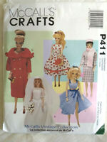 "McCall's Crafts P411 Doll's Dress Pattern UNCUT Vintage Style 11.5"" Doll"