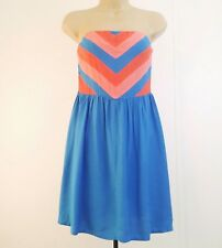 Cooperative Urban Outfitters Size 4 Orange Blue Strapless Dress Retro A Line C3