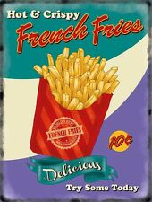 French Fries chips 50's Diner Kitchen Cafe Food Retro Small Metal Steel Sign