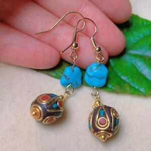 Fashion Natural gemstone Nepal blue turquoise gold earrings Jewelry Diy Ear stud