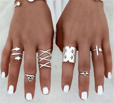 Boho Vintage Tibetan 925 Silver Stacking Cross Rings Above Knuckle Rings Jewelry