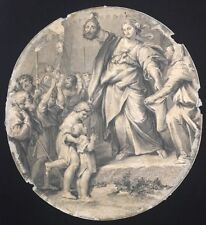 Judith Showing Israelites Beheading Holofernes Engraving Circle Domenichino 1800