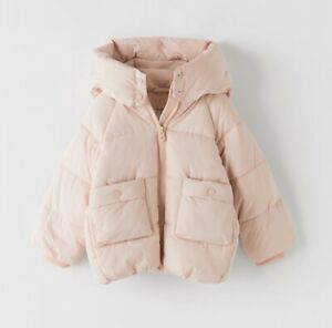 Zara Girls Basic Padded Coat Winter Jacket In Light Pink Age 3-4 Years Excel Con