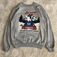 Vintage 1987 Bud Light Beer Party Animal Spuds Mackenzie Fleece Sweatshirt Large