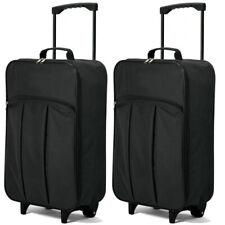 Juego de 2 maletas cabina plegables negra 55 cms equipaje de mano envio 24/48 h