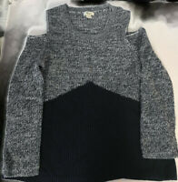 Style & Co Womens Sweater Black Gray Cold Shoulder Long Sleeve Scoop Neck L