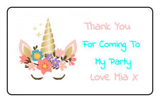 24 Personalised UNICORN Birthday Stickers, Thank You Stickers Party Bags Cones