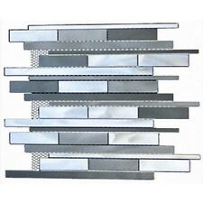 Somer Tile Fuse Linear 11.875x12.25 Aluminum and Glass Grey Mosaic Wall Tile