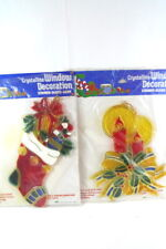 "2 Crystalline Christmas Window Decorations Stained Glass Look Large 10"" High"
