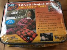 """CAR COZY 12 VOLT HEATED TRAVEL BLANKET RED PLAID LARGE 42"""" X 58"""" FLEECE NEW"""