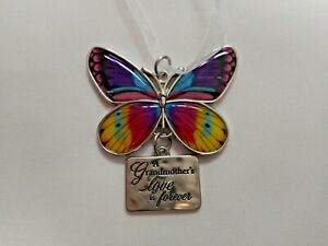 """NEW """"A Grandmother's love is forever"""" Butterfly Ornament/Car Charm by Ganz"""