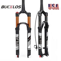 "BUCKLOS Tapared 26/27.5/29"" MTB Air Suspension Fork Manual/Remote 120mm Disc QR"