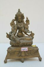 Vintage Brass Tara Lady Thai Nepali Buddha Tribal Design Statue Figurine NH1664
