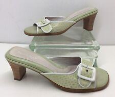 BeautiFeel Green White Leather Retro Style Buckle Sandals Heels Women's Sz 41 EU