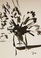 """JOSE TRUJILLO MODERNIST EXPRESSIONIST INK WASH ORIGINAL Still Life 9X12"""" Plants"""