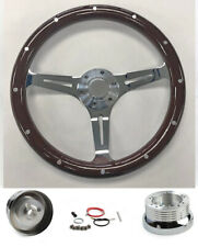 "70-77 Mercury Comet Cougar Montego 15"" Dark Mahogany Wood Steering Wheel Chrome"