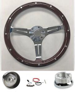"70-77 Mercury Comet Cougar Montego 14"" Dark Mahogany Wood Steering Wheel Chrome"