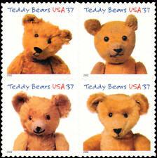 2002 37c Teddy Bears, Block of 4 Scott 3653-56 Mint F/VF NH