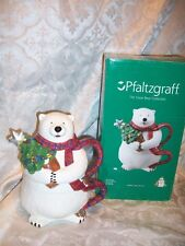 *Damaged* Pfaltzgraff Snow Bear Tea For One Teapot & Cup Christmas Decor Polar
