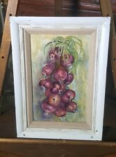 Antique Still Life Oil Painting-Purple Onions