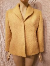 Eileen Fisher yellow wool boucle tweed jacket blazer size L