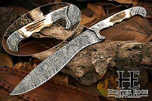 HUNTEX Custom Handmade Damascus 405 mm Long Deer Antler Hunting Machete Knife