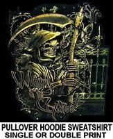 GRIM REAPER SKELETON WAITING AT GATES SICKLE SYTHE SKULL HOODIE SWEATSHIRT 127