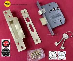 "Yale 5 Lever Mortice Lock 3"" (80mm) Brass Sashlock British Standard BS 3621"